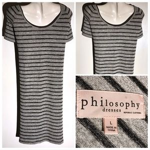 EUC Philosophy Grey Dress Black Stripes